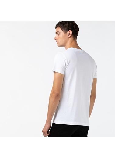 Lacoste Erkek Baskılı Tişört TH1868.001 Beyaz